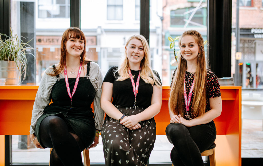 University of Hull students Connie Ward-Allen (left), Rebecca Kelly and Alicia Mason are gaining hands on experience as the Freedom Festival Accelerate interns. Photo: Tom Arran.